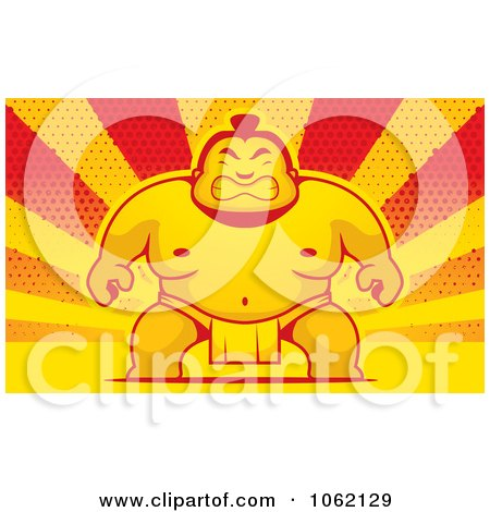 Clipart Sumo Wrestler Over Halftone Rays - Royalty Free Vector Illustration by Cory Thoman