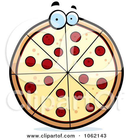 Clipart Pepperoni Pizza Character - Royalty Free Vector Illustration by Cory Thoman
