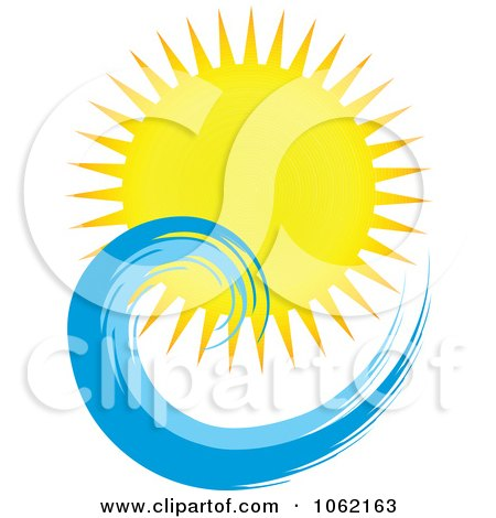 Clipart Summer Sun And Ocean Wave 5 - Royalty Free Vector Nature Illustration by KJ Pargeter