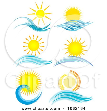 Clipart Summer Suns And Ocean Waves Digital Collage - Royalty Free Vector Nature Illustration by KJ Pargeter