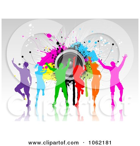 Clipart Colorful Silhouetted Dancers With Grunge And Speakers - Royalty Free Vector Illustration by KJ Pargeter