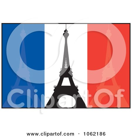Clipart Eiffel Towers Over French Flag - Royalty Free Vector Travel Illustration by Maria Bell