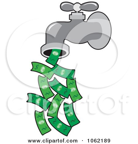Clipart Faucet Pouring Money - Royalty Free Vector Financial Illustration by Maria Bell
