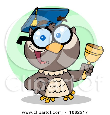 Clipart Professor Owl Ringing A Bell 2 - Royalty Free Vector Illustration by Hit Toon