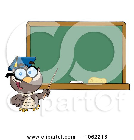 Clipart Professor Owl And Chalk Board - Royalty Free Vector Illustration by Hit Toon