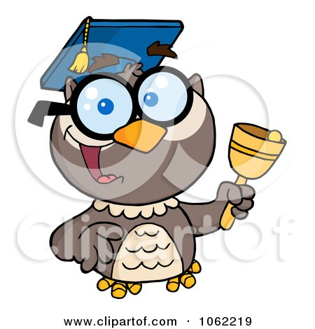 Clipart Professor Owl Ringing A Bell 1 - Royalty Free Vector Illustration by Hit Toon