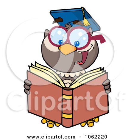 Clipart Professor Owl Reading - Royalty Free Vector School Illustration by Hit Toon