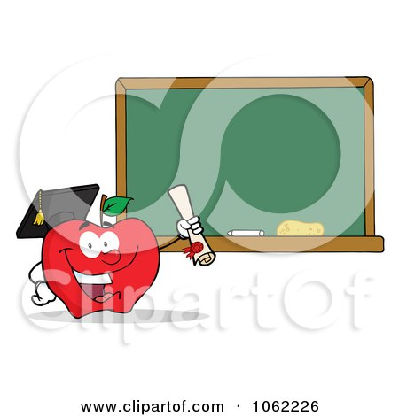 Clipart Professor Apple And Diploma By Chalkboard - Royalty Free Vector Illustration by Hit Toon