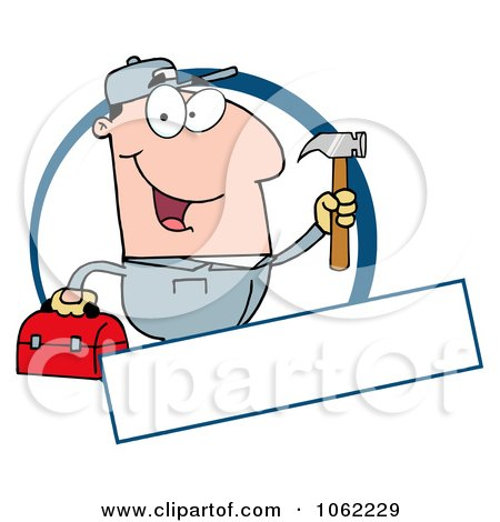 Clipart Handy Man With Tool Box And Banner - Royalty Free Vector Illustration by Hit Toon