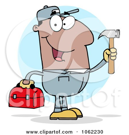 Clipart Black Construction Worker With Tools - Royalty Free Vector Illustration by Hit Toon
