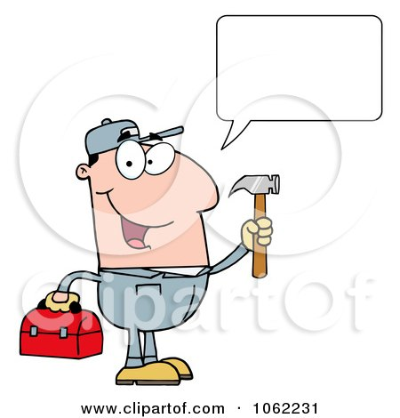 Clipart Talking Handy Man With Tool Box - Royalty Free Vector Illustration by Hit Toon