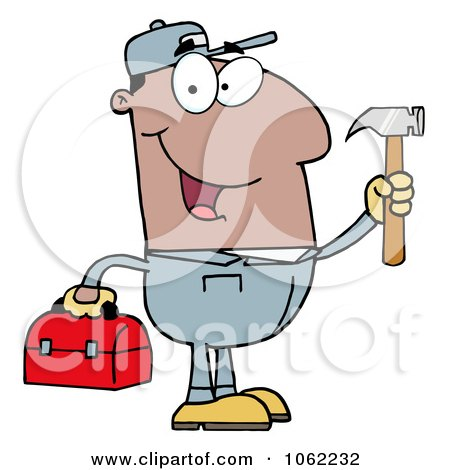 Clipart Black Repair Man With Tools - Royalty Free Vector Illustration by Hit Toon