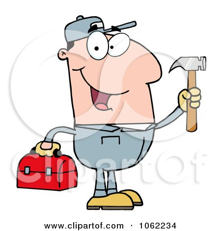 Clipart Handy Man With Tool Box 1 - Royalty Free Vector Illustration by Hit Toon