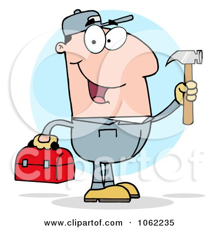 Clipart Handy Man With Tool Box 2 - Royalty Free Vector Illustration by Hit Toon