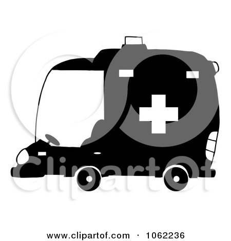 Clipart Black And White Ambulance - Royalty Free Vector Illustration by Hit Toon