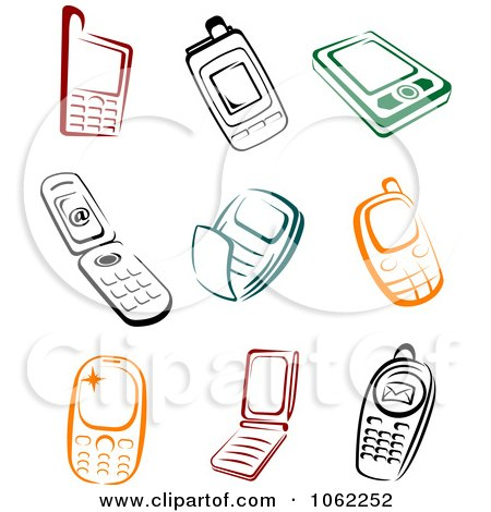 Clipart Colorful Cell Phones Digital Collage - Royalty Free Vector ...