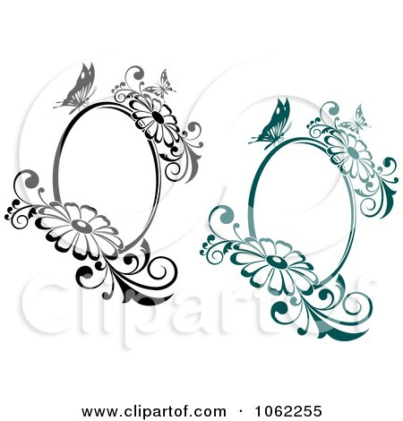 Clipart Butterfly Daisy Frames Digital Collage - Royalty Free Vector Illustration by Vector Tradition SM