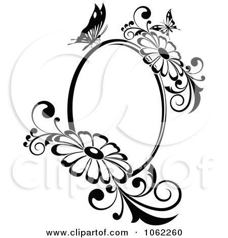 Clipart Butterfly Daisy Frame In Black And White - Royalty Free Vector Illustration by Vector Tradition SM