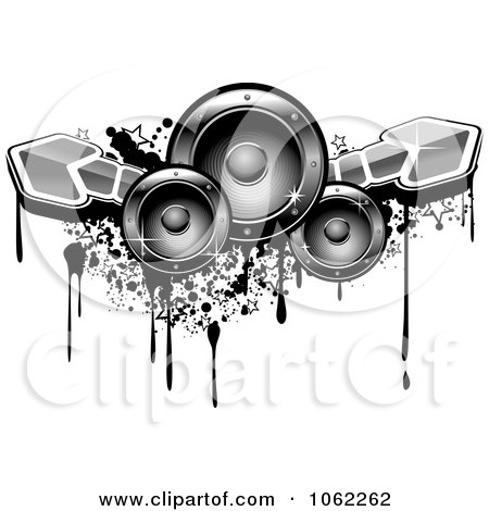 Clipart Music Speakers, Arrows And Grunge - Royalty Free Vector Illustration by Vector Tradition SM