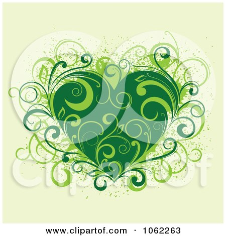 Clipart Green Floral Heart - Royalty Free Vector Illustration by Vector Tradition SM