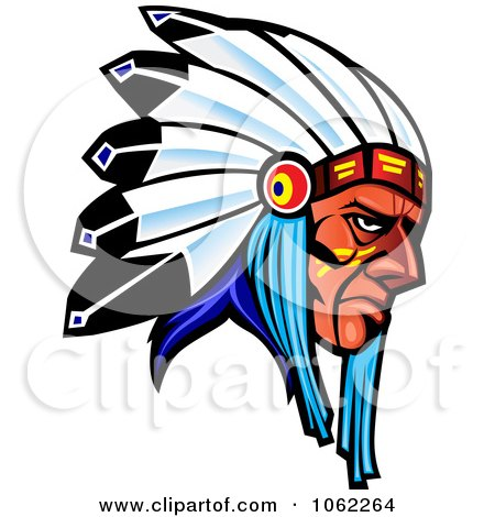 Clipart Native American Warrior With Headdress - Royalty Free Vector Illustration by Vector Tradition SM