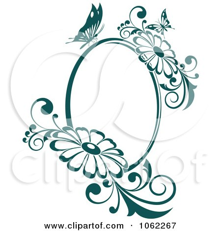 Clipart Butterfly Daisy Frame In Teal - Royalty Free Vector Illustration by Vector Tradition SM