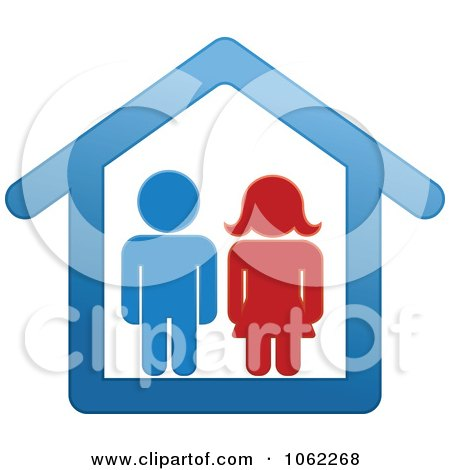 Clipart Couple In A House - Royalty Free Vector Illustration by Vector Tradition SM