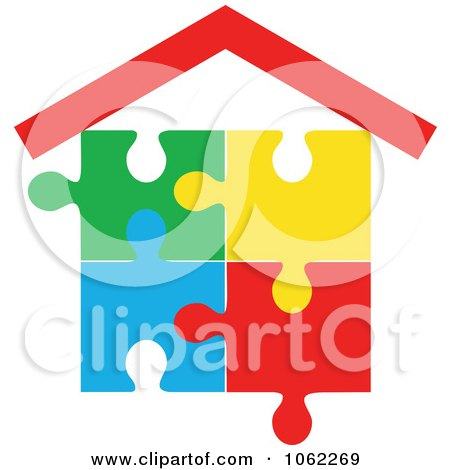 Clipart Puzzle House - Royalty Free Vector Illustration by Vector Tradition SM