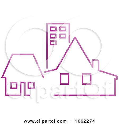 Clipart Purple Buildings - Royalty Free Vector Illustration by Vector Tradition SM