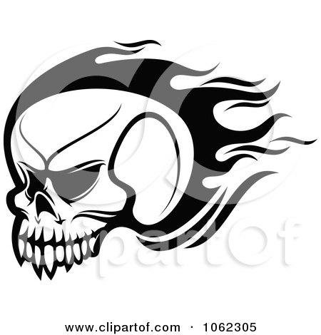 Flaming Skull Coloring Pages http://www.clipartof.com/portfolio/seamartini/illustration/black-and-white-flaming-skull-logo-2-1062305.html