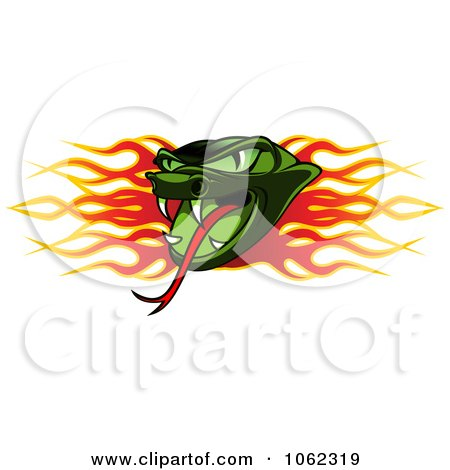 Clipart Viper And Flames Banner - Royalty Free Vector Illustration by Vector Tradition SM