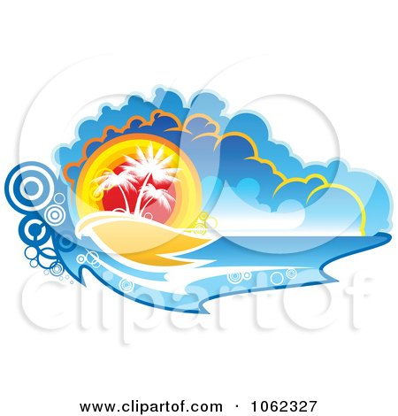 Clipart Palm Tree Island 4 - Royalty Free Vector Clip Art Illustration by Vector Tradition SM