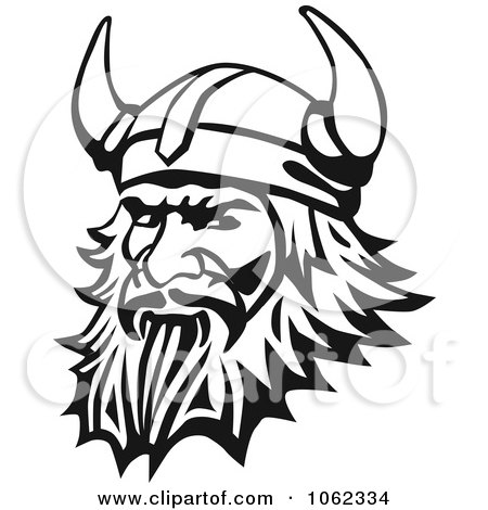 Clipart Viking Man In Black And White - Royalty Free Vector Illustration by Vector Tradition SM