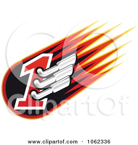 Auto Racing Clip  Graphic on Clipart Racing Number One With Mufflers 1   Royalty Free Vector