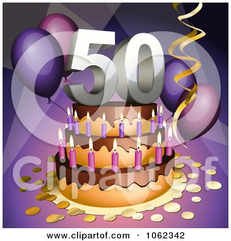 Birthday Flower Cake on Clipart 3d 50th Birthday Or Anniversary Party Cake   Royalty Free