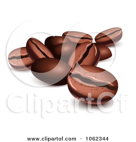 Clipart 3d Roasted Coffee Beans - Royalty Free Vector Illustration by Oligo