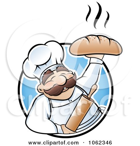 Clipart Happy Baker Holding Up Bread Logo - Royalty Free Vector Illustration by TA Images