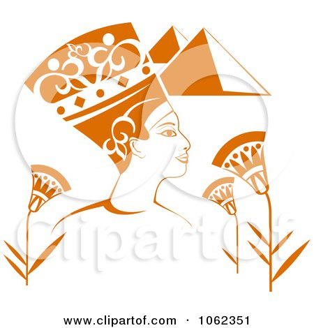 Clipart Egyptian Pharaoh With Pyramids And Flowers - Royalty Free Vector Illustration by Vector Tradition SM