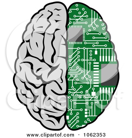 Clipart Half Human Half Circuit Board Brain - Royalty Free Vector Illustration by Vector Tradition SM