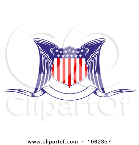 Clipart Winged American Shield And Banner - Royalty Free Vector Illustration by Vector Tradition SM