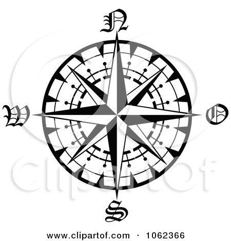 Compass Rose Drawing Compass Rose Drawings in Black