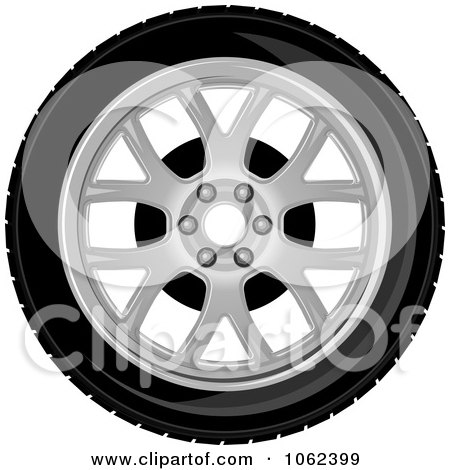 Clipart Car Tire And Rim 2 - Royalty Free Vector Illustration by Vector Tradition SM