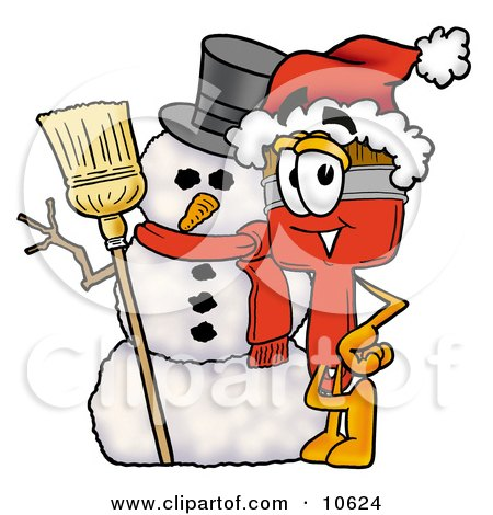Clipart Picture of a Paint Brush Mascot Cartoon Character With a Snowman on Christmas by Toons4Biz