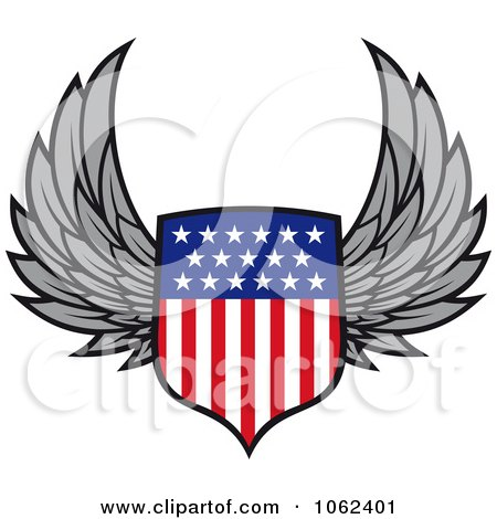 Clipart Winged American Shield - Royalty Free Vector Illustration by Vector Tradition SM