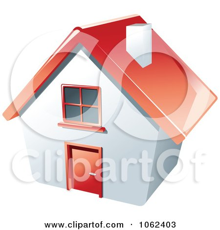 Clipart 3d Red Roofed House - Royalty Free Vector Illustration by Vector Tradition SM