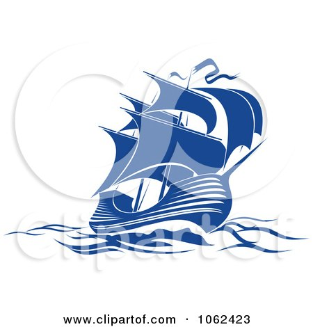 Clipart Blue Sailing Ship 3 - Royalty Free Vector Illustration by Vector Tradition SM