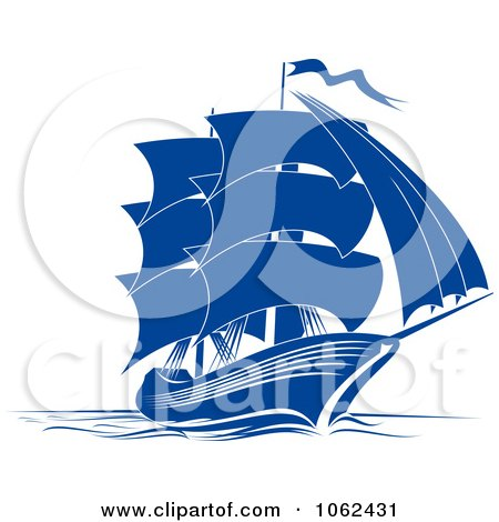 Clipart Blue Sailing Ship 4 - Royalty Free Vector Illustration by Vector Tradition SM