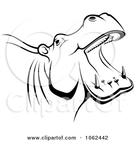 Clipart Hippo In Black And White - Royalty Free Vector Illustration by Vector Tradition SM