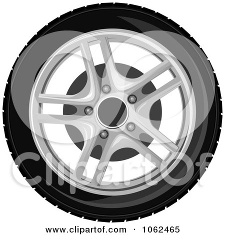 Clipart Car Tire And Rim 1 - Royalty Free Vector Illustration by Vector Tradition SM