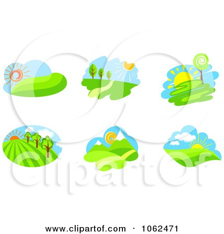 Clipart Spring Landscapes Digital Collage 1 - Royalty Free Vector Illustration by Vector Tradition SM